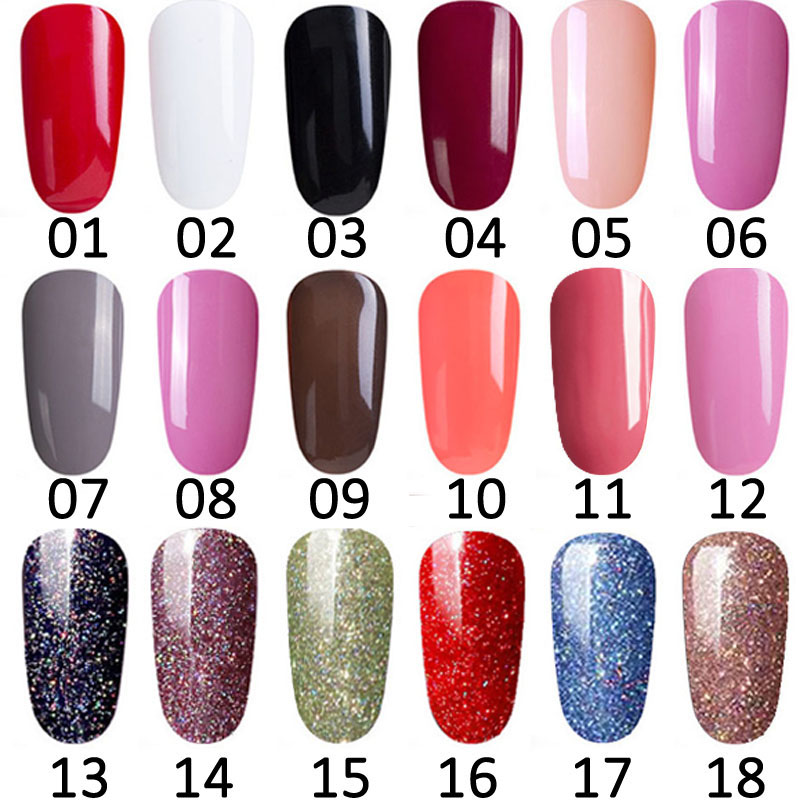 1pc 8ml Pure Color Gel Nail Polish 18colors Long Lasting Professional Macaron Soak off Varnish Gel Lacquer in Nail Polish from Beauty Health