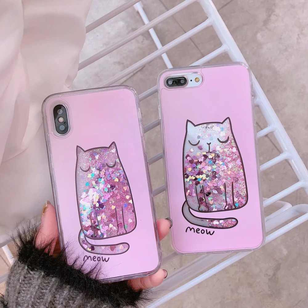 d61afe495a6 ... YiKELO Dynamic Liquid Glitter Quicksand Case Colorful Cat Printed Cover  For iPhone 8 Plus 6 6S