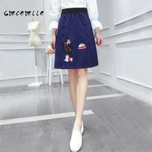 Women Cartoon Embroidery Skirt Plus Size Female Skirts Plus Size Feminino Vestidos Mujer Belle Skirt Office Suit Casual D109