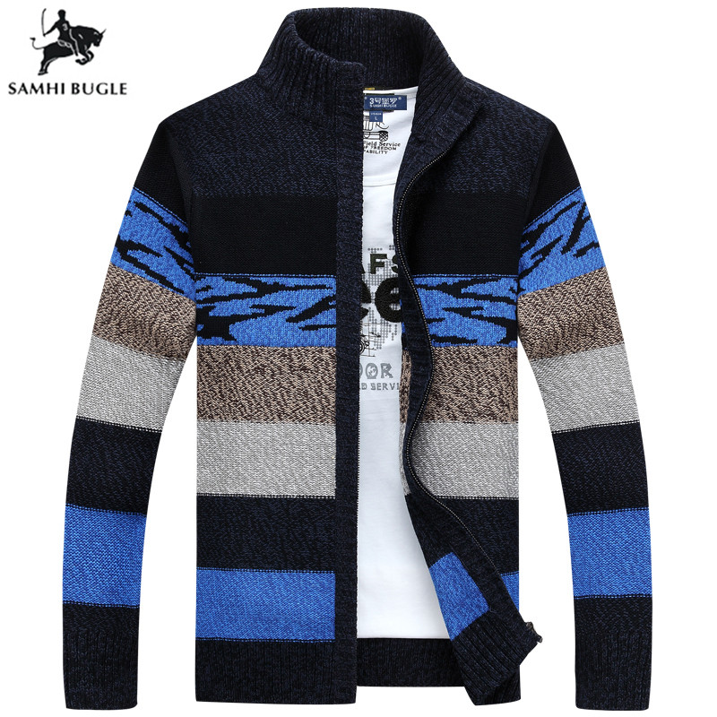 SAMHIBUGLE Knitted Sweater Men Cardigans Collar Winter Wool Sweater Fashion Cardigans Male Sweaters Coat Brand Men's Clothing