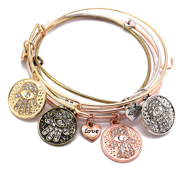 Simple Bangle Starfish Cross Hamsa Wire Charm Bracelet Femme Cuff Bracelets For Women Lovely Gift Famous Brand Jewelry