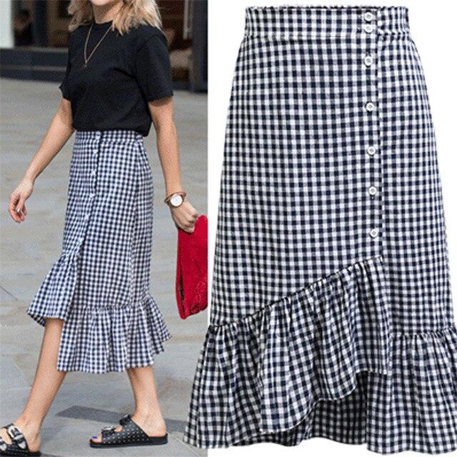 b2d1a8dcf € 12.5 49% de DESCUENTO|Aliexpress.com: Comprar Nueva moda Primavera Verano  rizado Faldas mujeres negro blanco Plaid MIDI Falda larga alta cintura ...