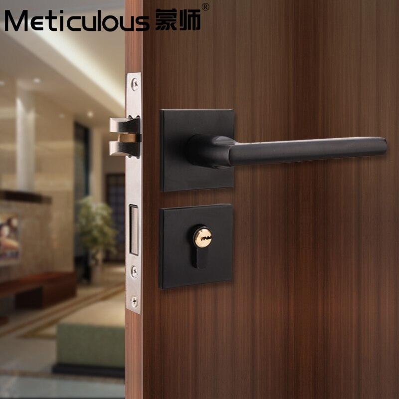 Serrure de porte intérieure méticuleuse serrure fendue salle de bains serrures de porte en alliage d'aluminium noir serrure de poignée silencieuse intérieure