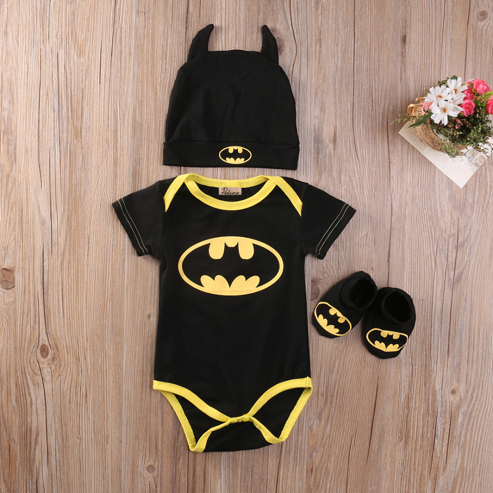 3pcs-hot-cute-baby-clothes-baby-boy-girl-cute-cotton-short-sleeve-batman-romper-jumpsuitcartoon-hatshoes-baby-girl-romper-1