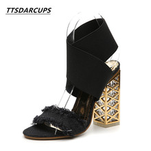 TTSDARCUPSnew crystal and toed sandals 34-40 yards of rough heel high heel female pump Sexy tassel  Women's Shoes Wedding shoes the pearl is high with the female sandals 2017 new fashion fine with banquet sexy diamond open toed wedding shoes 34 40 yards