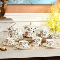 15 шт. Мода цветок Кофе чашка набор качество костяного фарфора Керамическая Кофе чашка и блюдце день Чай комплект