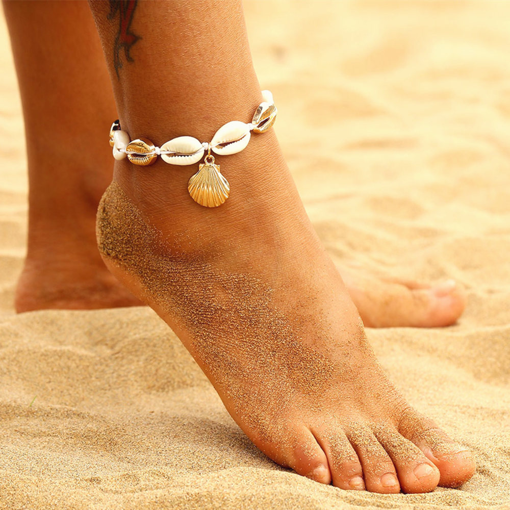 Vintage Gold Silver Color Anklet Women Shell Sequins Geometric Bracelet Charm Bohemian Ankle Bracelet Boho Beach Foot Jewelry