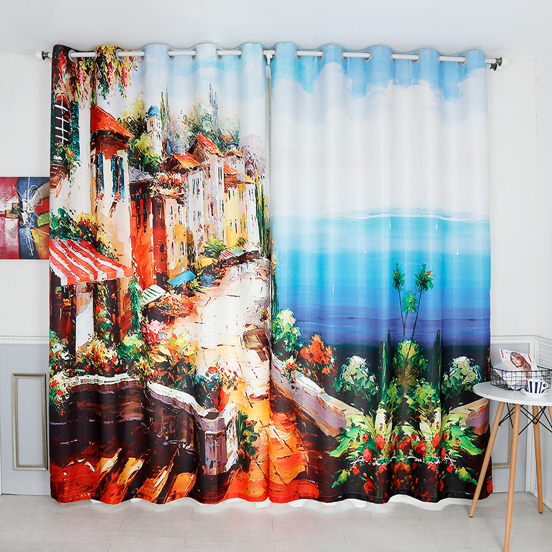 Rideau 3D européen personnalisable de Style de paysage marin d'huile de rue pour les rideaux épaissis faits sur commande de chambre à coucher pour le balcon acceptent votre taille