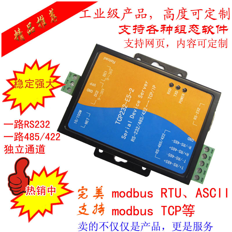 Free Shipping Industrial Serial Server Ethernet To Serial RS232/485/422 Module In |modbus Gateway