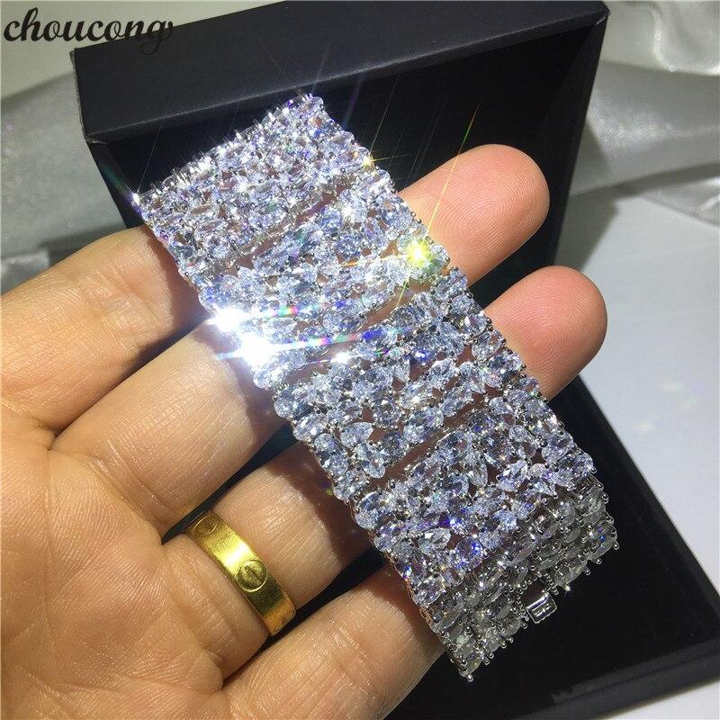 Роскошные браслеты choucong, белое золото, заполненный Mutil AAAAA cz, серебряный цвет, вечерние, свадебный браслет для женщин, свадебный подарок, шири...