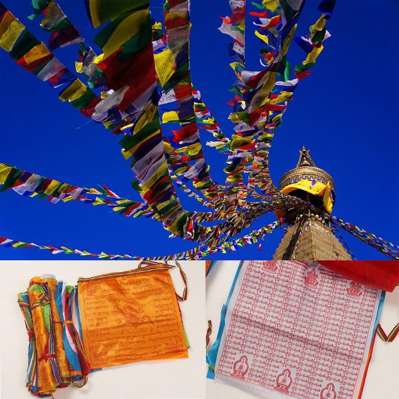 Religious Flags Tibetan Buddhist Supplies Colour Print Prayer Flag Artificial Silk Tibet Lung Ta Banner Scriptures  3 Sizes