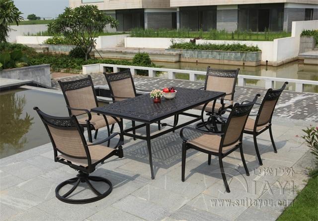 5-piece cast aluminum patio furniture Outdoor furniture transport by sea