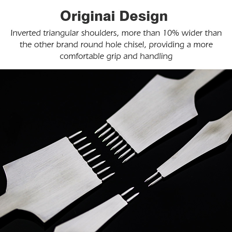 WUTA NEW High Quality Leather Craft Tools Round Hole Pricking Iron DIY Chisel Stitching Lacing Punch 3mm /4mm Spacing 2+8 Prong