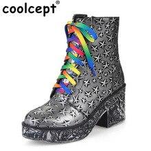 Coolcept Fashion Women Boots Colorful Shoeslaces Round Toe Thick Fur Platform Square Heel Shoes Snow Boots Shoes Women Size34-43