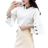 2018 O neck Flare Sleeve Split korean fashion new women tops lady white t shirts button autumn clothings