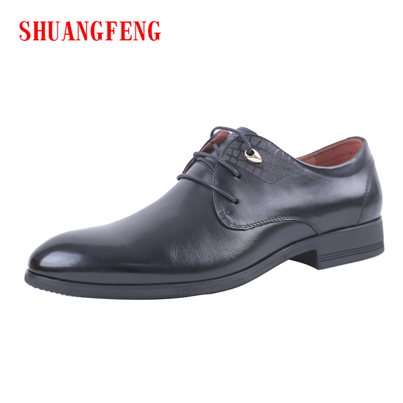 SHUANGFENG Men Dress Shoes Men Formal Shoes Genuine Leather Luxury Brand Fashion Wedding Shoes Men Bussiness Shoes Dress