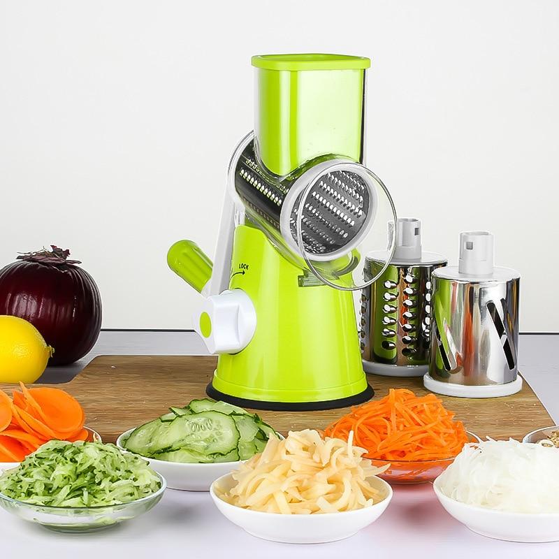 Терка для моркви Овочева різак Кругла мандоліна-тертка для нарізки для картоплі Жульєнська нержавіюча кухонне приладдя