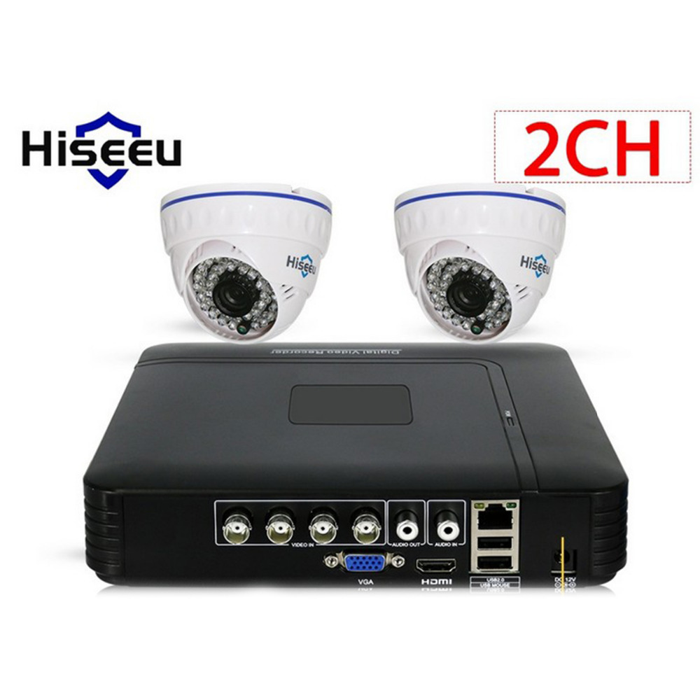 Hiseeu HD 2CH 1080N 5in1 AHD DVR Kit Indoor CCTV System 2pcs 720P AHD waterproof/dome IR Camera P2P Security Surveillance Set giantree 1 3mp 720p pal ntsc 2500 tvl ahd cctv lens ir infrared indoor security dome hemisphere camera surveillance system ip66