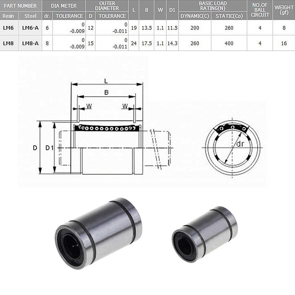 Rolamento de Esferas lineares Bucha Impressora LM8UU LM6UU para 3D Rolamento de Aço Cromo Carbono