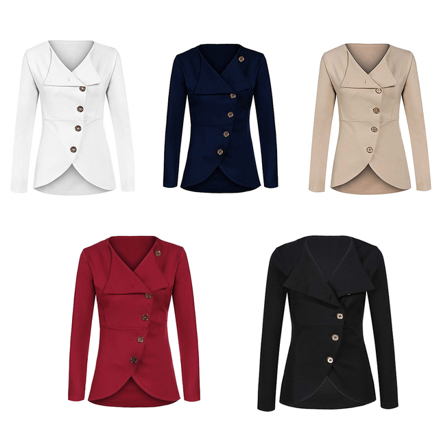 Women's Solid Fashion Outerwear Jacket Single-breasted Button Long Sleeve Turn-down Collar Spring Autumn Ladies Slim Clothing