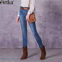 Artka Women S 2017 Spring Monkey Wash Embroidery Jeans Vintage Mid Waist Straight Pattern All Match