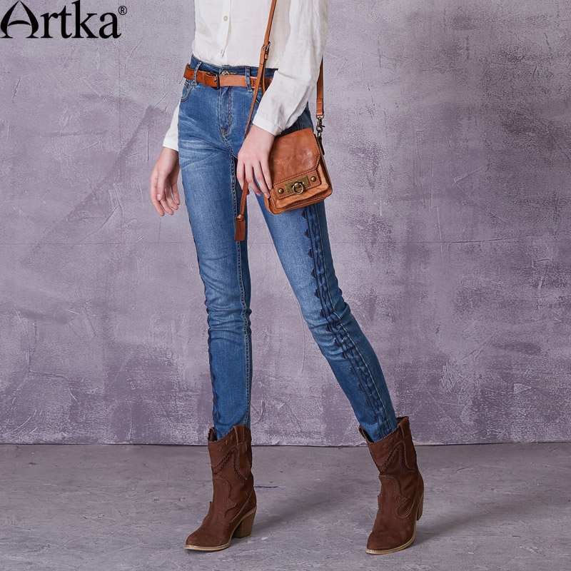 ARTKA Women's 2018 Autumn Monkey Wash Embroidery   Jeans   Vintage Mid-waist Straight Pattern All-match   Jeans   KN10078X