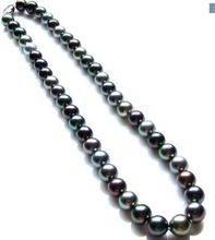 women gift Jewelry Silver Clasp 17INCH AAA+ 10-11mm Tahitian genuine black peacock red green multicol round pearl necklace