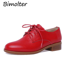 Bimolter  Woman Sneakers Genuine Leather Casual Shoes Women 2019 fashion Red Comfortable Flats Lace-up Loafers NA025