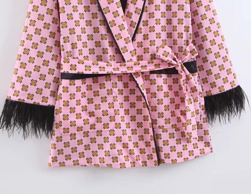 Women jacket for women fashion suit jacket with fringed print