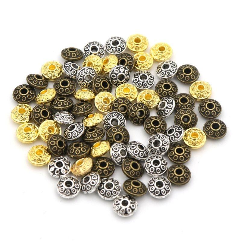 100 Stücke Antike Silber Bronze Farbe Spacer Lose Ufo Form Metall Perlen Für Schmuck Machen Hand Beadwork Diy Zubehör üBereinstimmung In Farbe