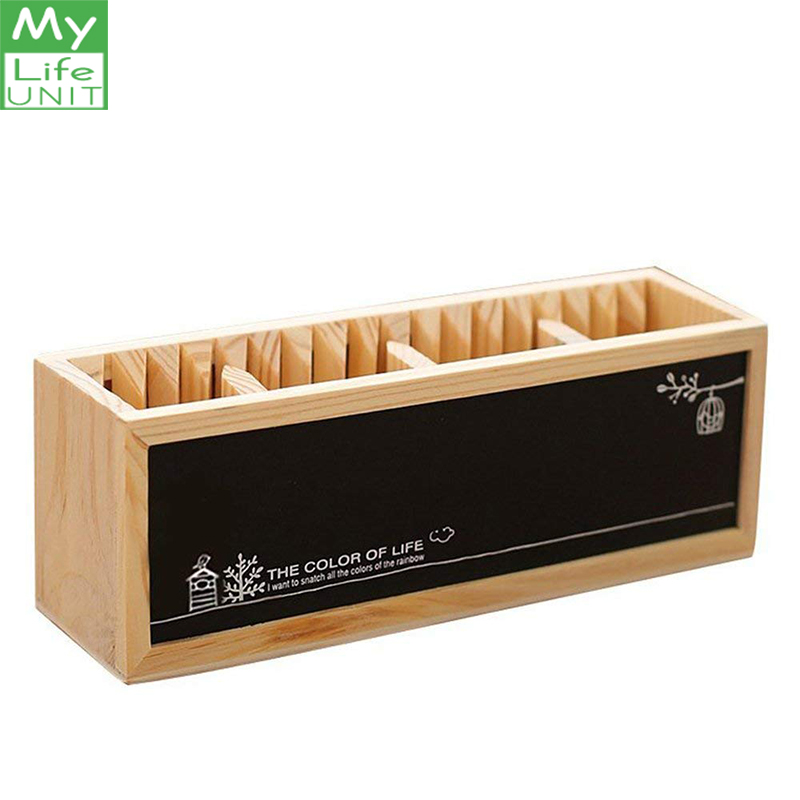 MyLifeUNIT Wooden Pencil Holder With Magnetic Blackboard Cute Desktop Pencil Holder Desk Organizer Creative Office Accessories