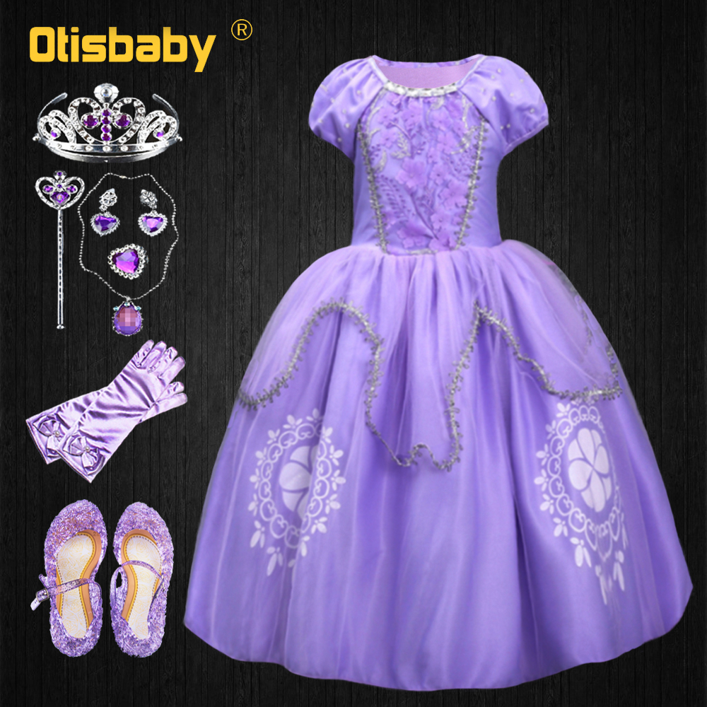 Cosplay Costume Ball-Gown Sofia-Dress Girls Kids Halloween Princess Children Clothing