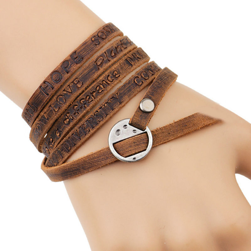 New Fashion Brown Genuine Leather Wrap Bracelet Multilayer Bracelets bangles for Women/Men erkek bileklik YW431