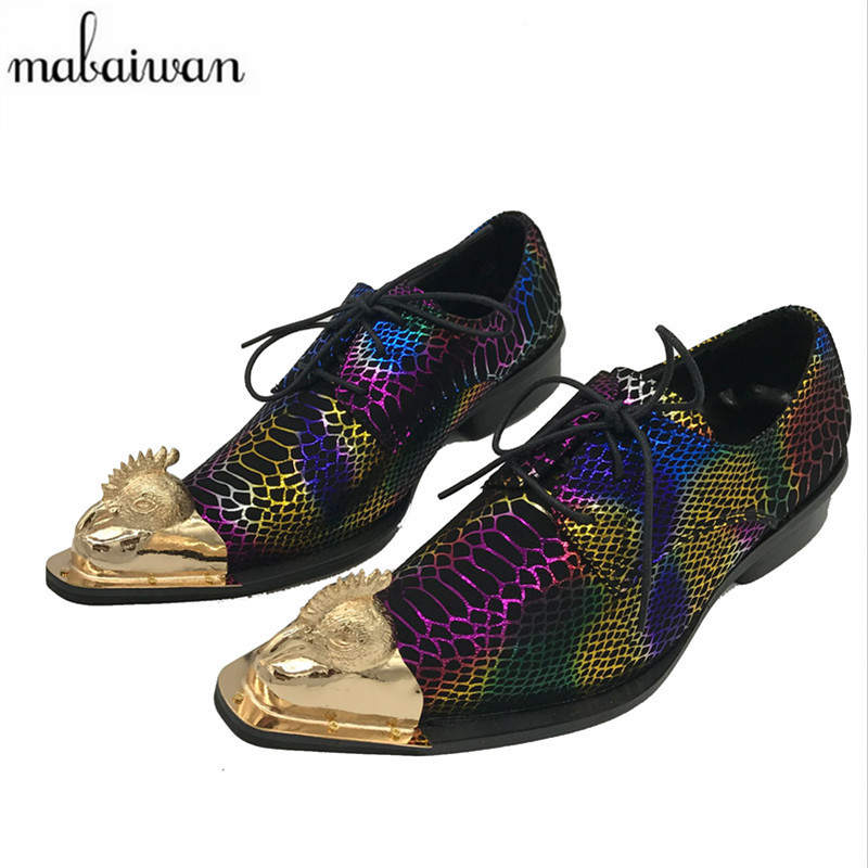 Handsome Colorful Leather Men Derby Shoes Wedding Dress Shoe Fashion Lace Up Metal Pointed Toe Creepers Chaussure Homme patent leather men s business pointed toe shoes men oxfords lace up men wedding shoes dress shoe plus size 47 48