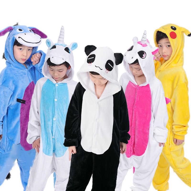 Пижамные комплекты для маленьких мальчиков и девочек кигуруми Единорог  пижамы для детей Аниме животных стежка комбинезон c4125cb699255