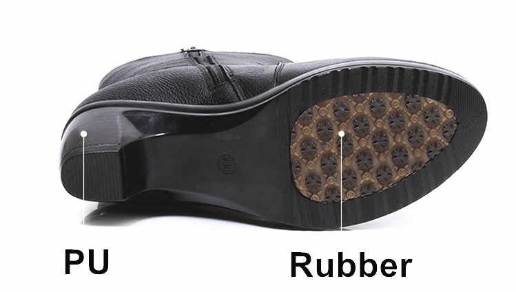 DONGNANFENG ผู้หญิงสุภาพสตรีหญิงแม่รองเท้ารองเท้าหนังวัวแท้ดอกไม้ฤดูหนาว Plush Zipper Warm 35-40 BH-6518