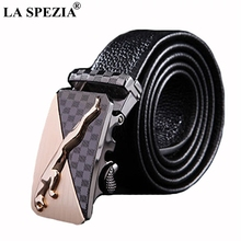 LA SPEZIA Automatic Buckle Belt Men Designer Real Cow Leather Male Black Luxury Genuine Business High Quality Belts
