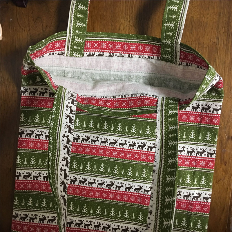 YILE Cotton Linen Eco Shopping Tote Shoulder Bag Print Tree Deer Christmas Theme L14
