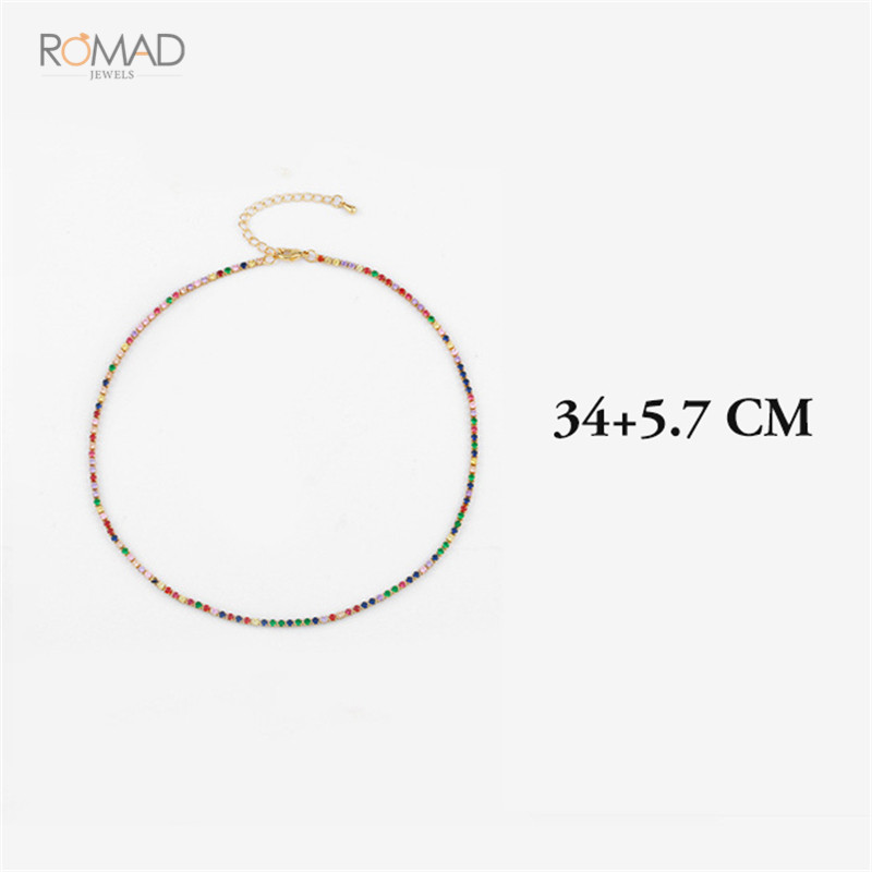 Romad Gold Color Necklace With Rainbow CZ Chain Colorful CZ Charm Choker Tiny Link Chain Necklace Jewelry For Women Girl W3 in Chain Necklaces from Jewelry Accessories