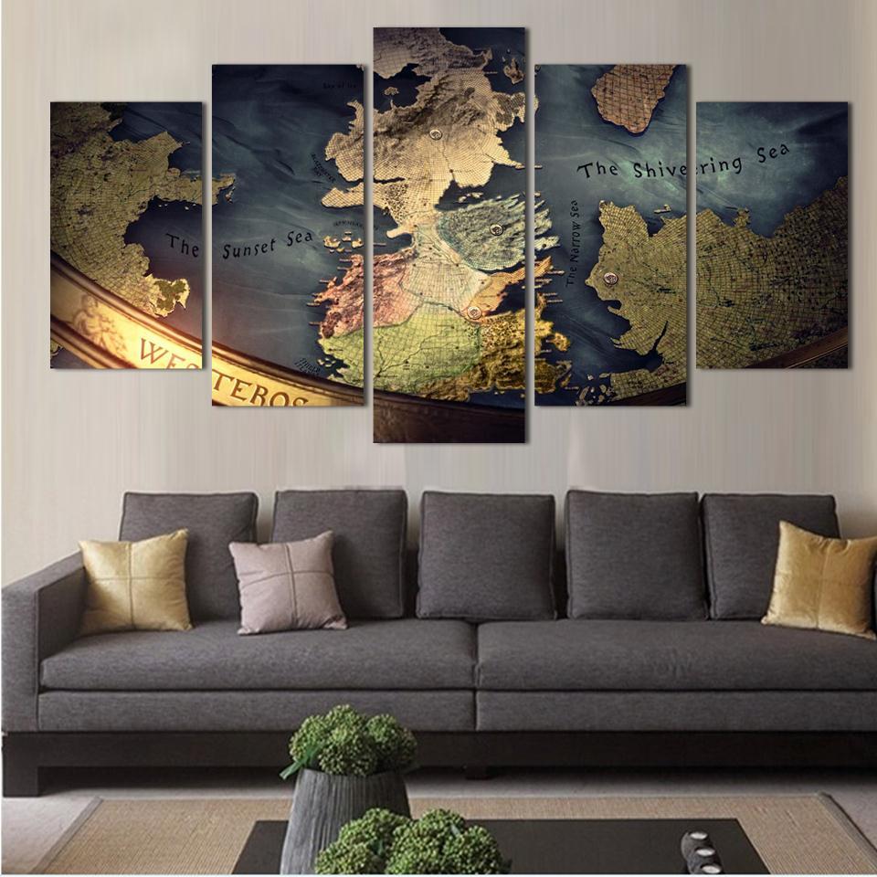 NO FRAME Drop Ship Unmframed Canvas 5 pieces WORLD MAP TRADITONAL ...