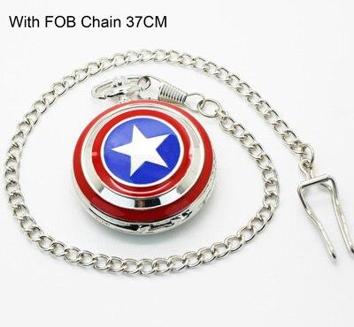 1062) Капитан Америка щит карманные часы ожерелье, диаметр 4.7.cm - Цвет: with FOB chain 37cm