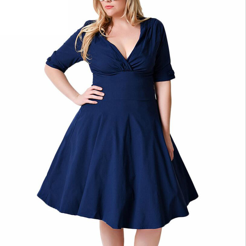 2019 women retro <font><b>Plus</b></font> <font><b>size</b></font> <font><b>8XL</b></font> <font><b>dress</b></font> elastic V neck Five points sleeve back cut out design fashion Medium length <font><b>dresses</b></font> Female image