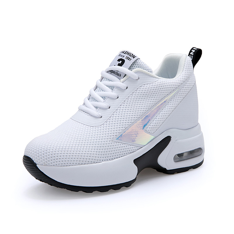Image 2 - Fashion Air Mesh Height Increased Casual Shoes Woman Breathable Lace Up Platform Sneakers Hide Heels Women Wedge Sneakers XZ127-in Women's Vulcanize Shoes from Shoes