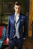 2016 Groom Tuxedo Shiny Navy Blue Groomsmen Notch Lapel Wedding Dinner Suits Best Man Bridegroom Jacket
