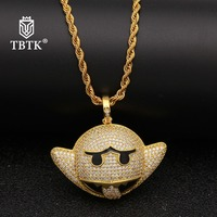 TBTK Fashion Bat Shape Funny Emoji Frown Metal Pendant Iced Out Jewelry Charms Zirconia 3mm Rope Gold Chain Unisex Necklace