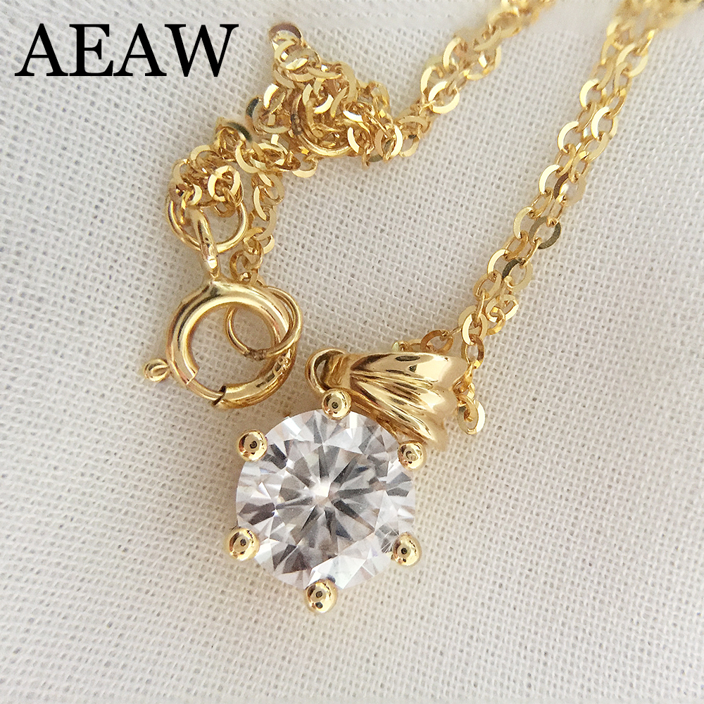 3ct 9mm VVS1 DEF Round Cut 14K Yellow White Gold Moissanite Pendant With 14K Gold Chain Necklace For Women in Fine Jewelry 18k 750 white gold pendant gh color round lab grown moissanite double heart necklace diamond pendant necklace for women jewelry