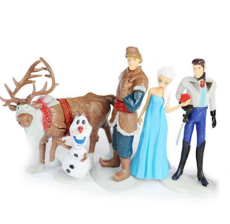 6Pcs/set Anna Elsa <font><b>Action</b></font> <font><b>Figure</b></font> Toy Snow <font><b>Queen</b></font> Princess&Prince Collection Pvc Toys Cartoon <font><b>Anime</b></font> Movies Children Gifts hot sale