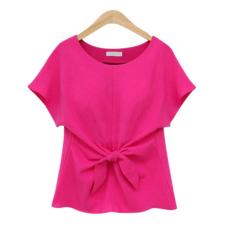 Europe & America fashion designer pure color chiffon blouse women summer tops short sleeve o-neck bowtie ladies shirts top sale