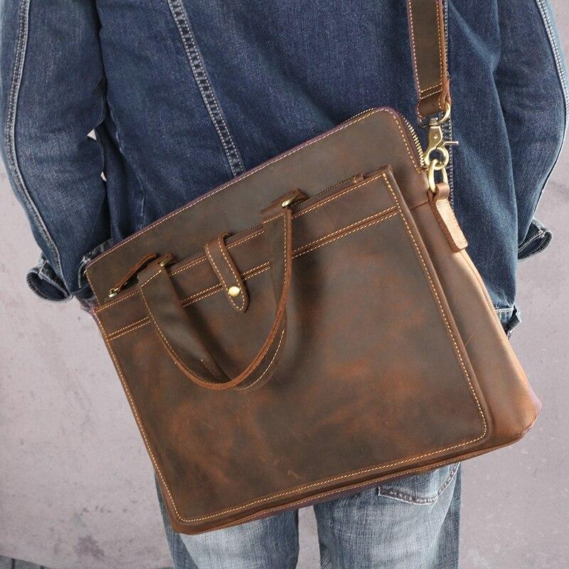 Винтажные модные брендовые дизайнерские кожаные мужские сумки Crazy Horse 14 сумка на плечо для ноутбука из натуральной кожи повседневный мужской портфель - 3