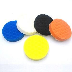 Image 5 - Tampons de polissage pour peinture de voiture, 5 x éponge, tampons de meulage, brosse propre, outils pour polisseuse de voiture 75 100 125 150 180mm avec tampon adhésif